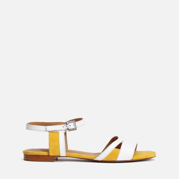 clergerie - LAST CHANCE || IZZIE SANDALS, WHITE & YELLOW
