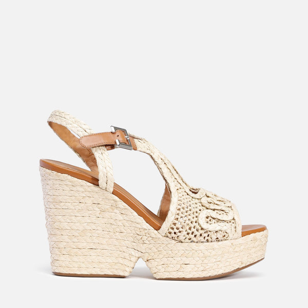 clergerie - LAST CHANCE || DOLORIA WEDGE SANDALS, NATURAL