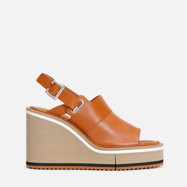 clergerie - LAST CHANCE || NOREEN WEDGE SANDALS, CAMEL