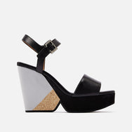 clergerie - LAST CHANCE || PEARL WEDGE SANDALS, BLACK