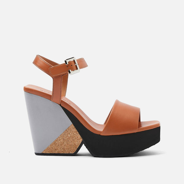 clergerie - LAST CHANCE || PEARL WEDGE SANDALS, CAMEL
