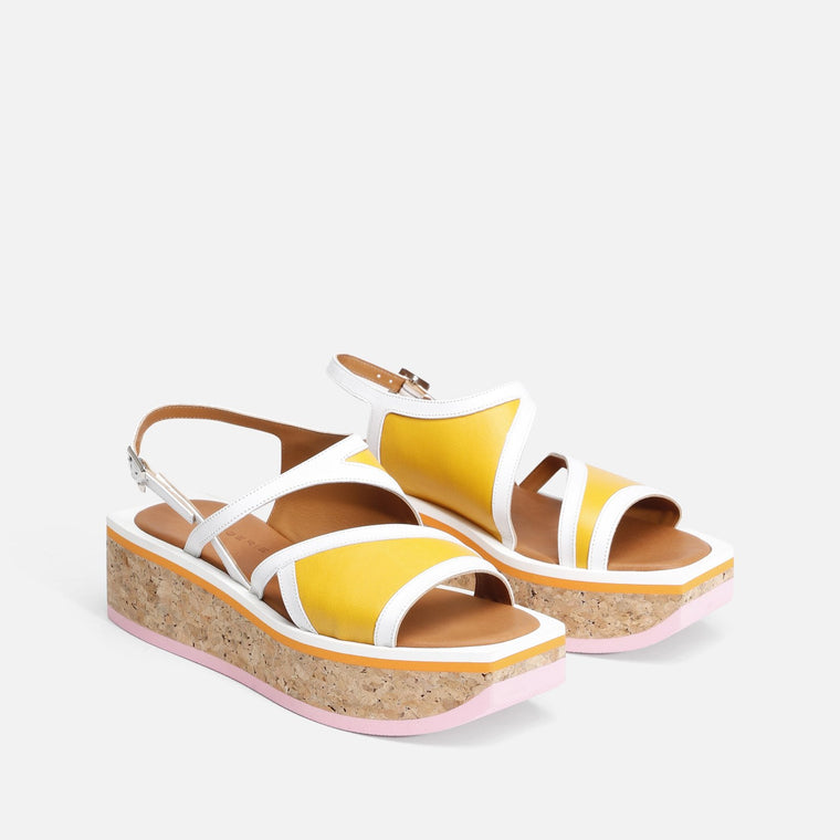 clergerie - LAST CHANCE || UMAL SANDALS, YELLOW & WHITE