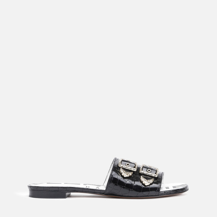 clergerie - KID MULES, BLACK ANIMAL PRINT