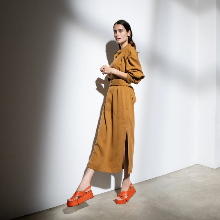 clergerie - MYRTA SANDALS, ORANGE & CAMEL