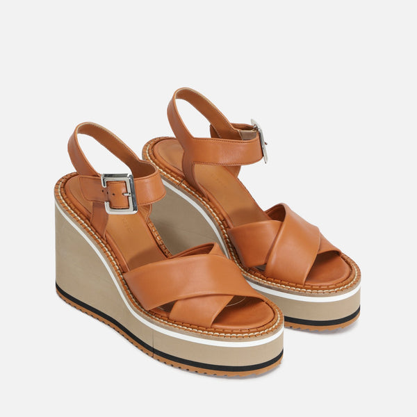 NOEMIE WEDGE SANDALS, CAMEL