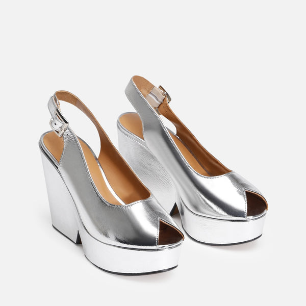 DYLAN WEDGE SANDALS, SILVER