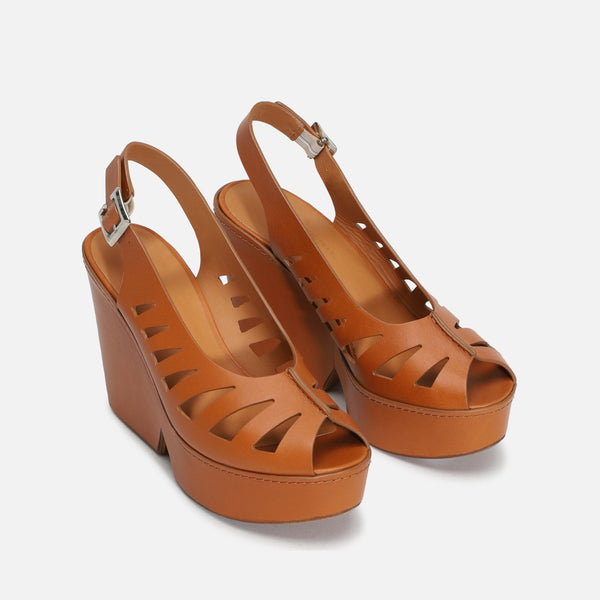 DIANE WEDGE SANDALS, CAMEL