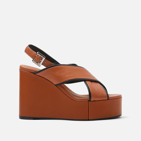 MIRANE WEDGE SANDALS, CAMEL & BLACK