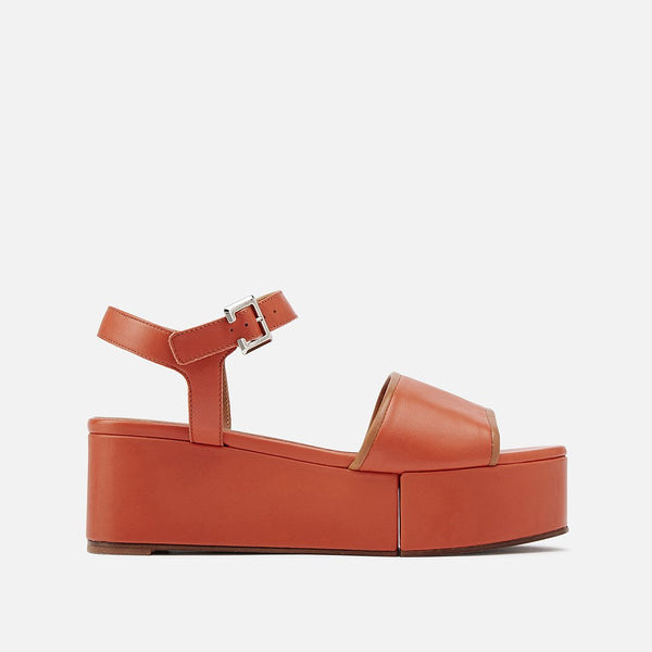 MONI SANDALS, ORANGE & CAMEL