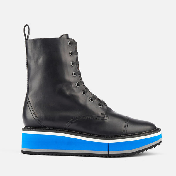 ANKLE BOOTS BRITISH, BLACK & BLUE