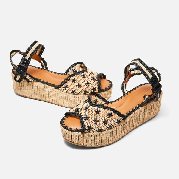 SANDALS AIMIE, NATURAL & BLACK
