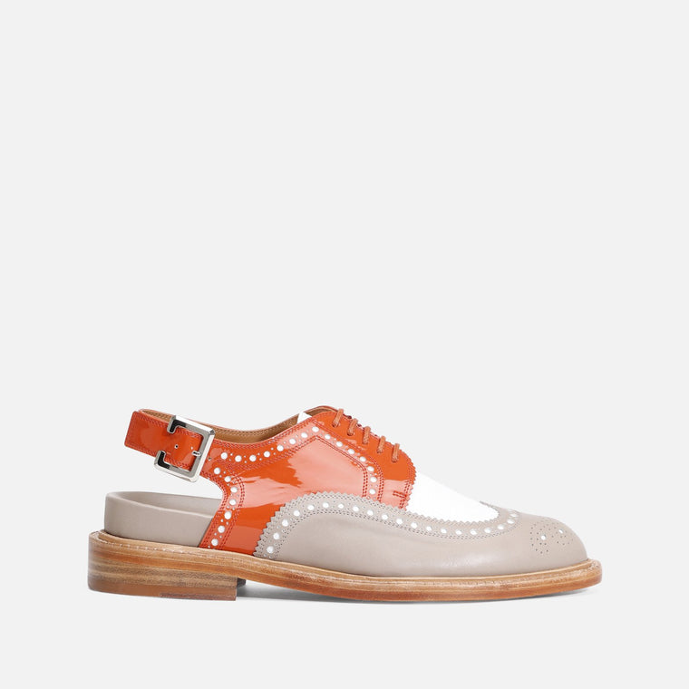 DERBIES GENIUS, TAUPE & ORANGE