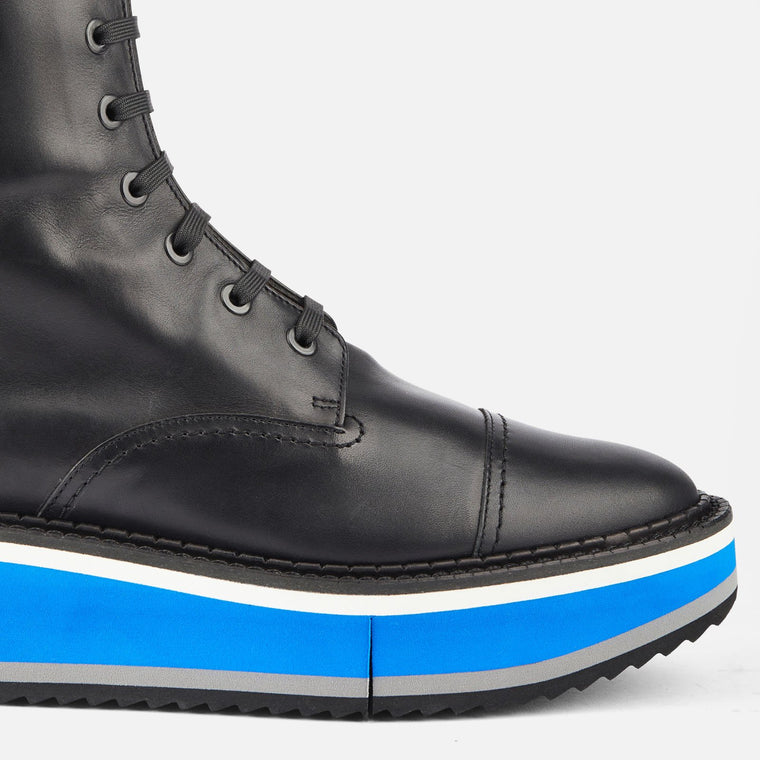 BOTTINES BRITISH, NOIR & BLEU