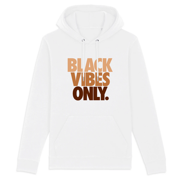HOODIE BLANC SIORS® BLACK VIBES ONLY - SIORSCLOTHING