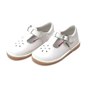 Joy Classic Leather Stitch Down T-Strap Mary Jane - White