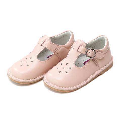 Joy Classic Leather Stitch Down T-Strap Mary Jane - Pink