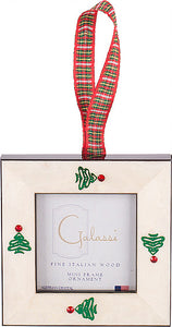 White w/ Christmas Tree & Plaid Ribbon Frame Ornament