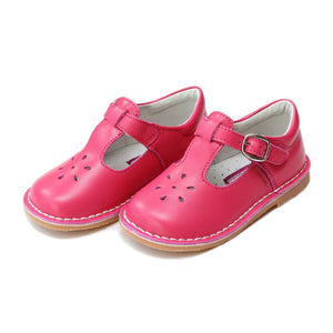 Joy Classic Leather Stitch Down T-Strap Mary Jane - Fuchsia