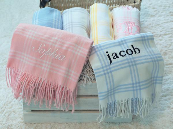 Pink/White Window Pane Flannel Blanket
