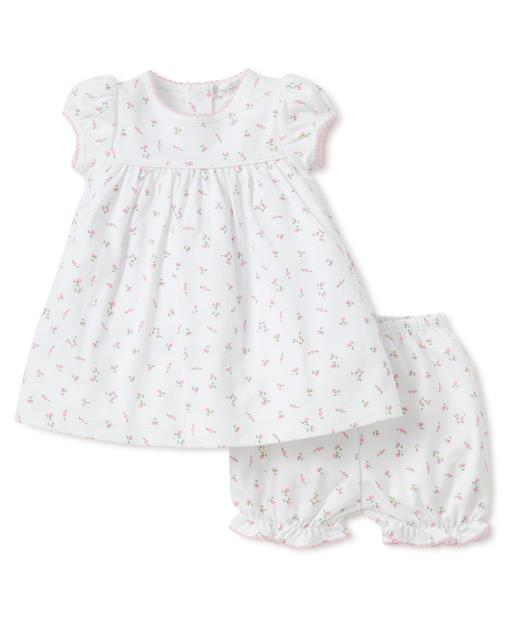 Garden Roses Print Dress with Diaper Cover