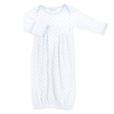 Gingham Dots Gathered Gown- Blue