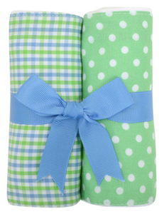 Alligator Fabric Burp Set - Blue