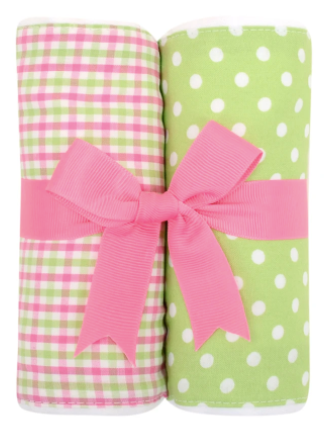 Alligator Fabric Burp Set - Pink