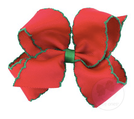 Red With Green Moonstitch Bow