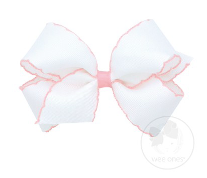 White With Light Pink Moonstitch Bow
