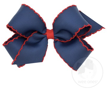 Navy With Red Moonstitch Bow