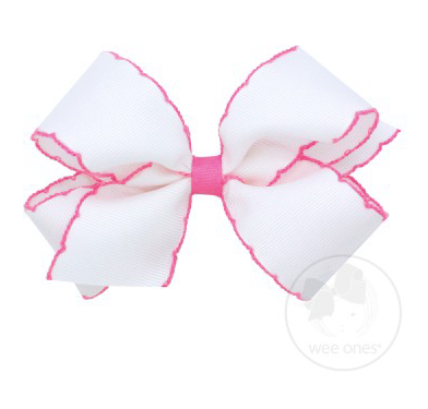 White With Hot Pink Moonstitch Bow
