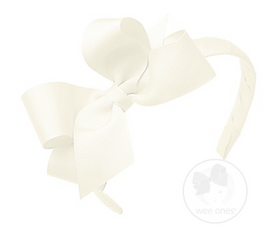Antique White Medium Grosgrain Bow on Matching Wrapped Headband