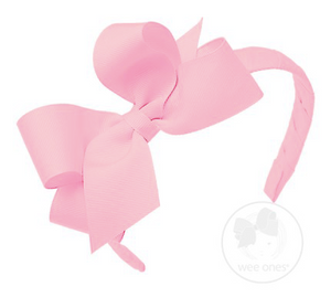 Light Pink Medium Grosgrain Bow on Matching Wrapped Headband