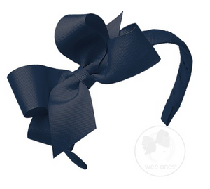 Navy Medium Grosgrain Bow on Matching Wrapped Headband