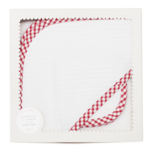 Red Check Pique Boxed Hooded Towel Set