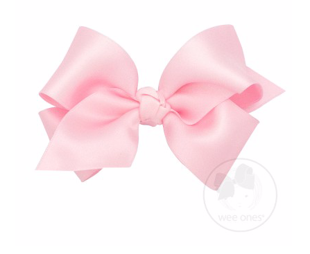 French Satin Bow with Knot - Light Pink