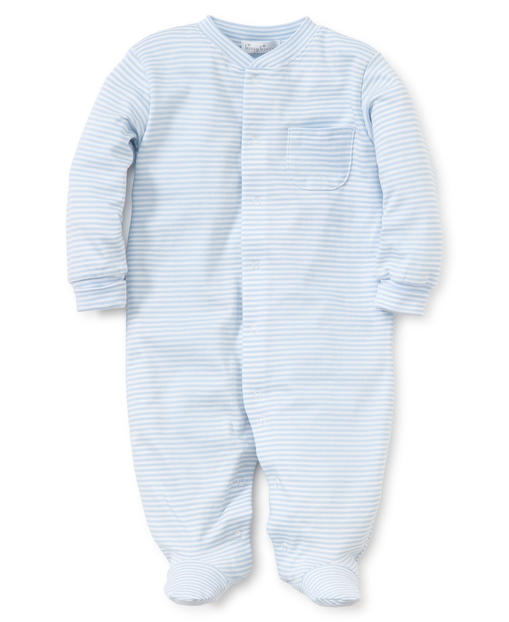 Stripes Footie - Light Blue