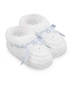Hand Crochet Ribbon Bootie - Blue