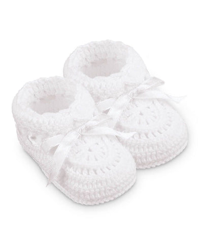 Hand Crochet Ribbon Bootie - White