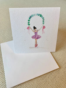 Ballerina with Garland Enclosure Card