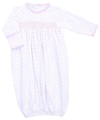 Gingham Dots Smocked Gown - Pink