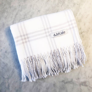 White/Grey Window Pane Flannel Blanket