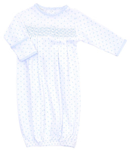 Gingham Dots Smocked Gown - Blue