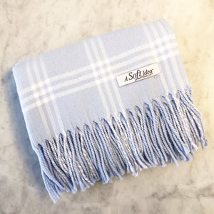 Blue/White Window Pane Flannel Blanket