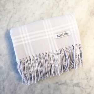 Grey/White Window Pane Flannel Blanket
