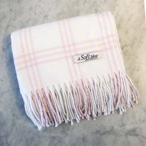 White/Pink Window Pane Flannel Blanket