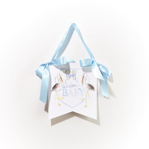 """Welcome Baby"" Stork Hanger - Blue"
