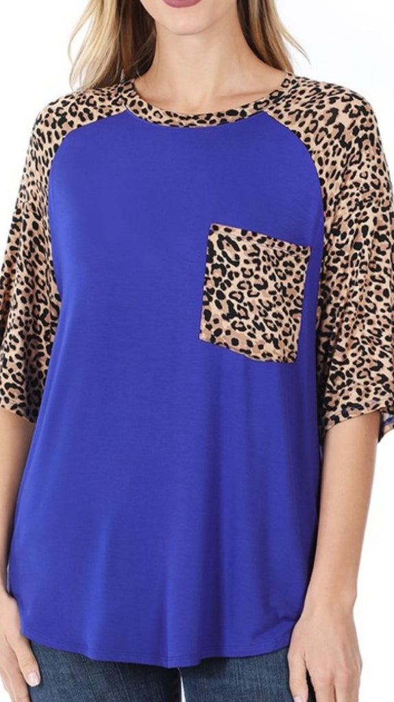 BLUE & LEOPARD TOP