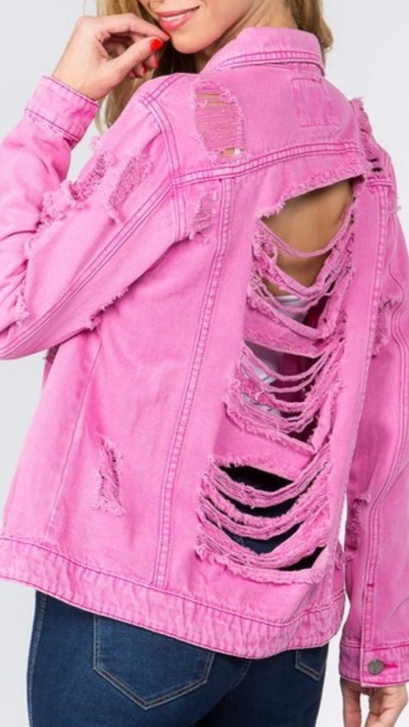 DARK PINK DISTRESSED JACKET