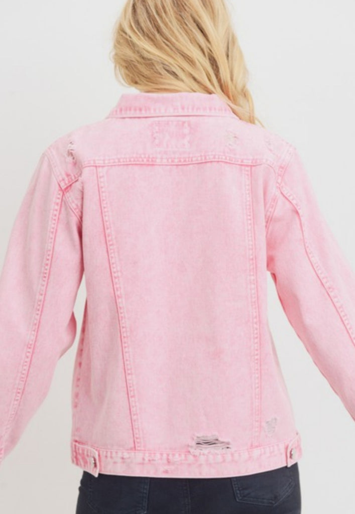 PINK DISTRESSED JACKET
